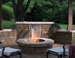 Backyard Getaway waterfall and firepit